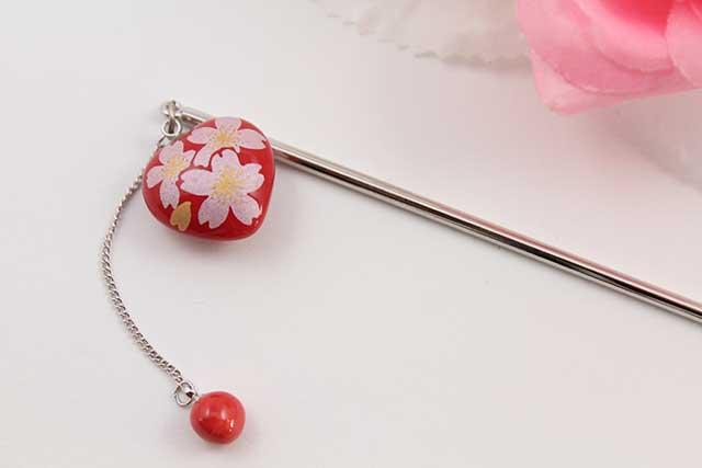 有田焼ヘアアクセサリー かんざし ロング 赤銀桜(ハート)