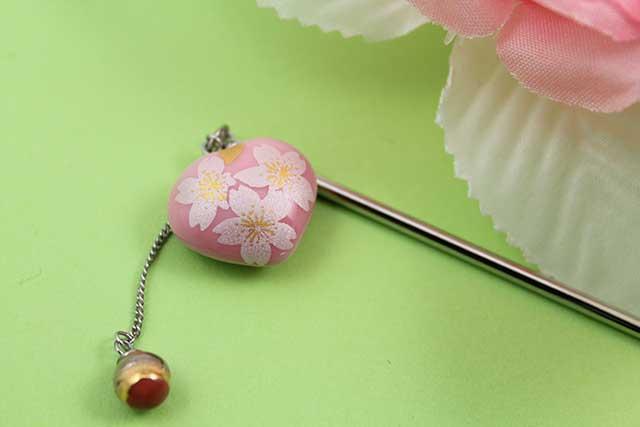 有田焼ヘアアクセサリー かんざし ロング ピンク銀桜(ハート)