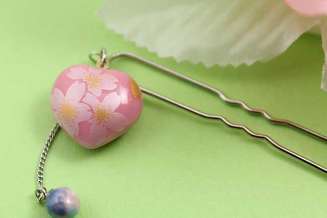 有田焼ヘアアクセサリー かんざし ショート ピンク銀桜(ハート)