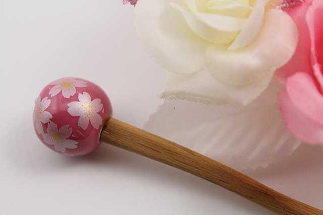 有田焼ヘアアクセサリー かんざし ウッド ピンク銀桜
