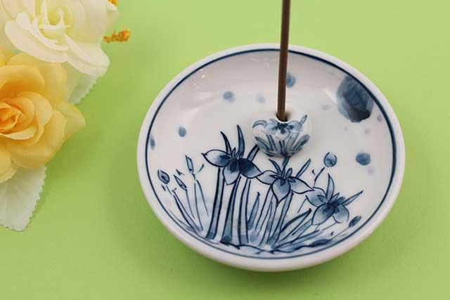 やきもの 焼き物 陶磁器 アクセサリー 小物雑貨 有田焼香立て 染付アヤメ紋様