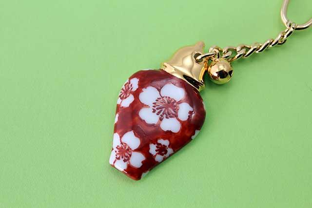 有田焼壺型キーホルダー赤ダミ桜