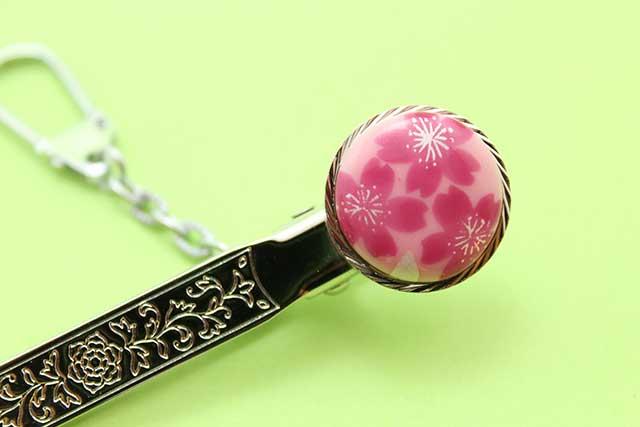 有田焼クリップ式キーホルダー ピンク桜