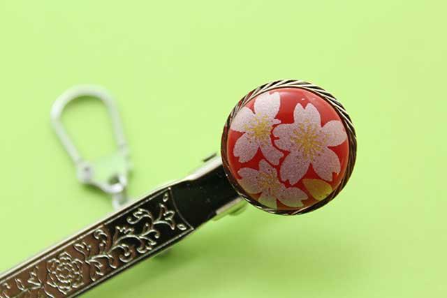 有田焼クリップ式キーホルダー 赤銀桜