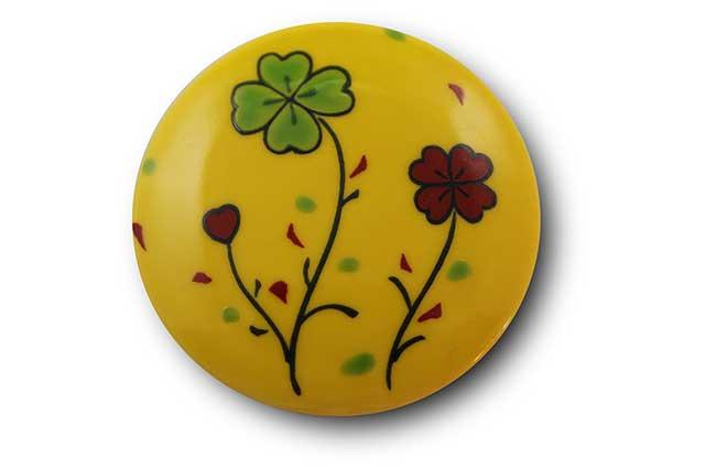 やきもの 焼き物 陶磁器 アクセサリー 小物雑貨 有田焼マグネット 黄クローバー