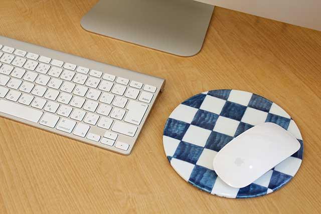 やきもの 焼き物 陶磁器 アクセサリー 小物雑貨 有田焼染付マウスパッド 市松紋様