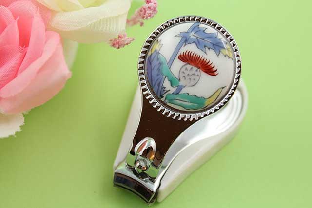やきもの 焼き物 陶磁器 アクセサリー 小物雑貨 有田焼爪切り アザミ