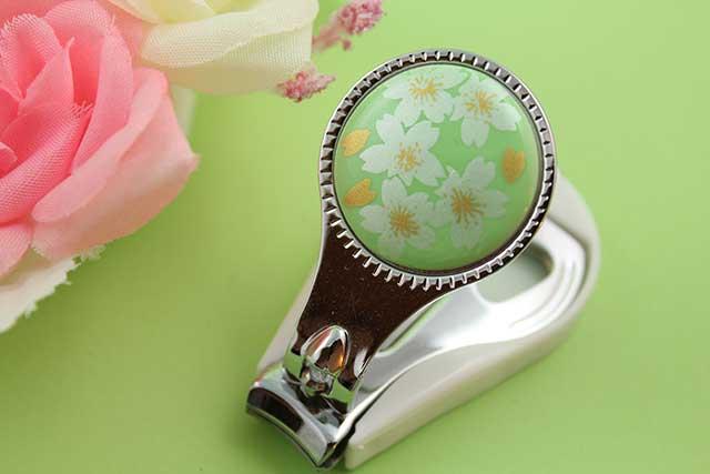 やきもの 焼き物 陶磁器 アクセサリー 小物雑貨 有田焼爪切り グリーン銀桜