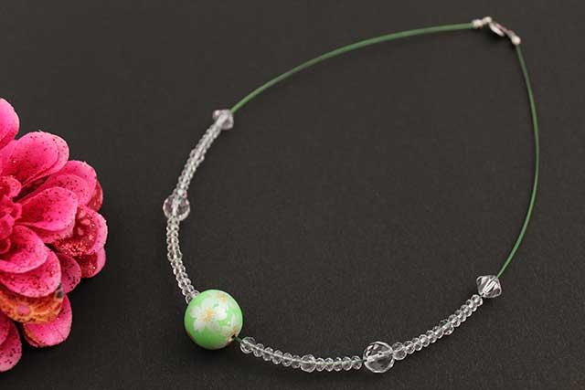 有田焼磁器玉天然石ペンダント(Arvo) グリーン銀彩桜水晶