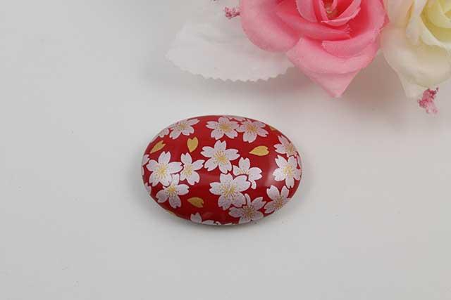 有田焼帯留 赤銀桜 楕円型
