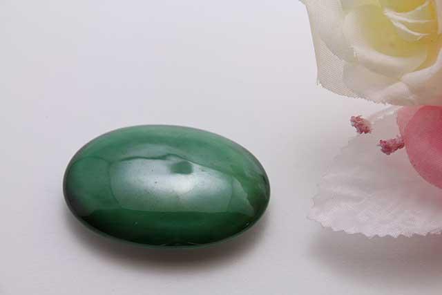 有田焼帯留 グリーン 楕円型