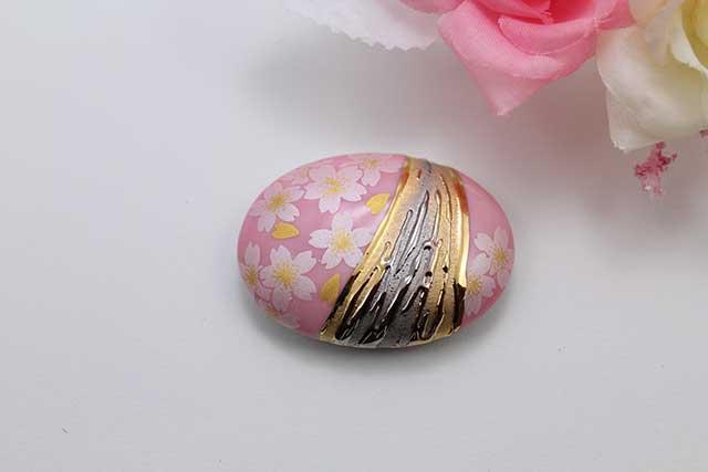 有田焼帯留 流星ピンク銀桜 楕円型