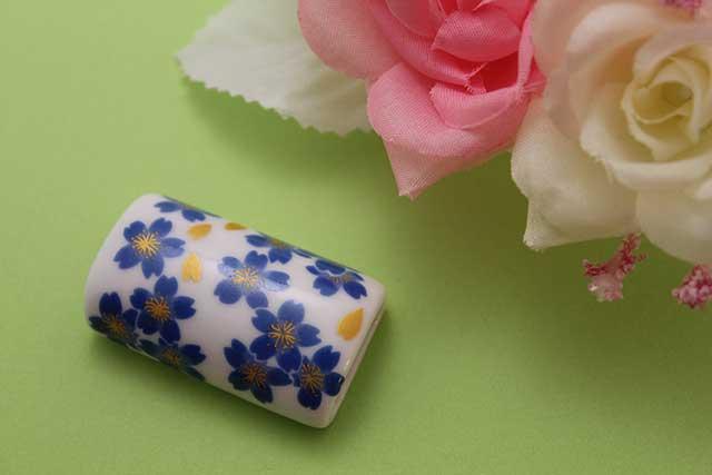 有田焼帯留 ブルー桜 筒型