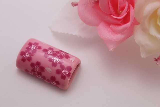有田焼帯留 ピンク桜 筒型