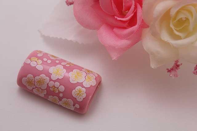 有田焼帯留 ピンク銀梅 筒型