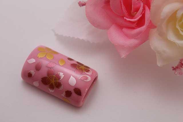 有田焼帯留 ピンク桜吹雪 筒型