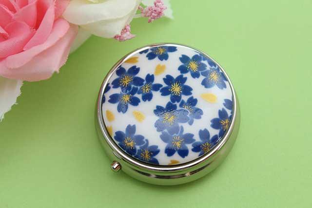やきもの 焼き物 陶磁器 アクセサリー 小物雑貨 有田焼ピルケース ブルー桜