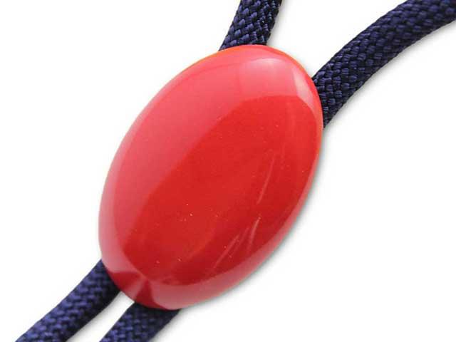 有田焼ループタイ 赤 楕円