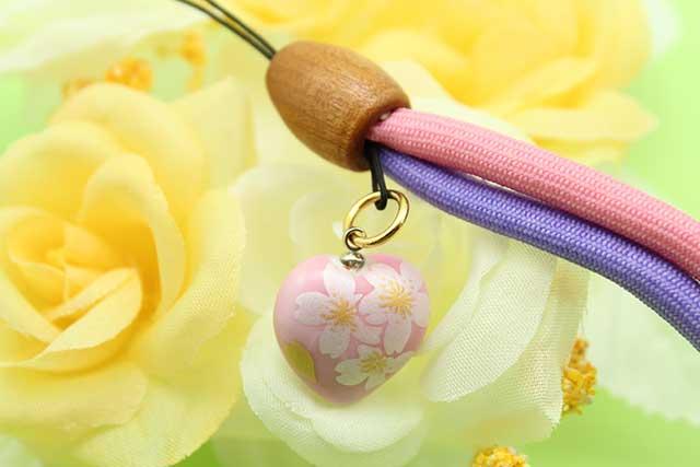 有田焼 染め紐ストラップ ピンク銀桜